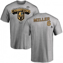 Men's Colin Miller Vegas Golden Knights 2018 Western Conference Champions Long Change T-Shirt - Heather Gray