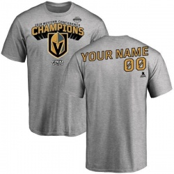Men's Custom Vegas Golden Knights 2018 Western Conference Champions Custom Long Change T-Shirt - Heather Gray