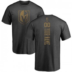 Men's Custom Vegas Golden Knights Charcoal Custom One Color Backer T-Shirt