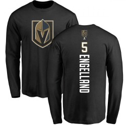 Men's Deryk Engelland Vegas Golden Knights Backer Long Sleeve T-Shirt - Black
