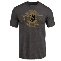 Men's Deryk Engelland Vegas Golden Knights Insignia Tri-Blend T-Shirt - Black