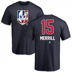 Men's Jon Merrill Vegas Golden Knights Name and Number Banner Wave T-Shirt - Navy