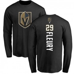 Men's Marc-Andre Fleury Vegas Golden Knights Backer Long Sleeve T-Shirt - Black