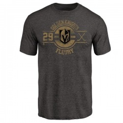 Men's Marc-Andre Fleury Vegas Golden Knights Insignia Tri-Blend T-Shirt - Black