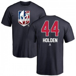 Men's Nick Holden Vegas Golden Knights Name and Number Banner Wave T-Shirt - Navy