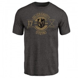 Men's Nick Suzuki Vegas Golden Knights Insignia Tri-Blend T-Shirt - Black
