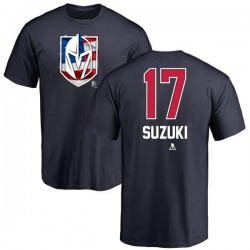Men's Nick Suzuki Vegas Golden Knights Name and Number Banner Wave T-Shirt - Navy