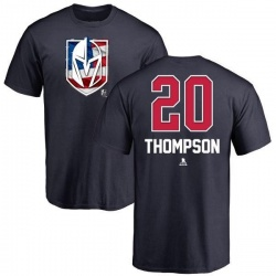Men's Paul Thompson Vegas Golden Knights Name and Number Banner Wave T-Shirt - Navy