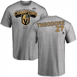 Men's Shea Theodore Vegas Golden Knights 2018 Western Conference Champions Long Change T-Shirt - Heather Gray