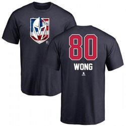 Men's Tyler Wong Vegas Golden Knights Name and Number Banner Wave T-Shirt - Navy