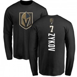 Men's Valentin Zykov Vegas Golden Knights Backer Long Sleeve T-Shirt - Black