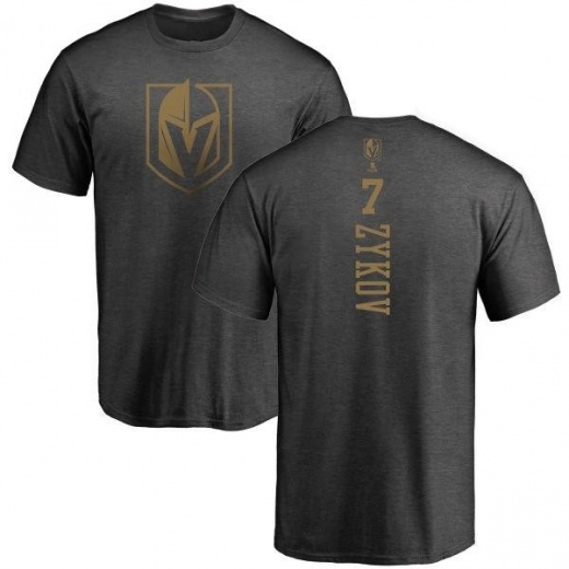 Men's Valentin Zykov Vegas Golden Knights Charcoal One Color Backer T-Shirt