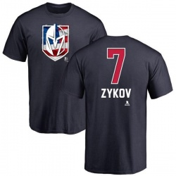Men's Valentin Zykov Vegas Golden Knights Name and Number Banner Wave T-Shirt - Navy