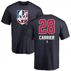 Men's William Carrier Vegas Golden Knights Name and Number Banner Wave T-Shirt - Navy