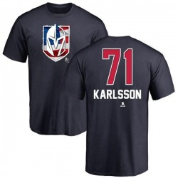 Men's William Karlsson Vegas Golden Knights Name and Number Banner Wave T-Shirt - Navy