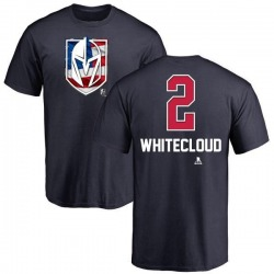 Men's Zach Whitecloud Vegas Golden Knights Name and Number Banner Wave T-Shirt - Navy