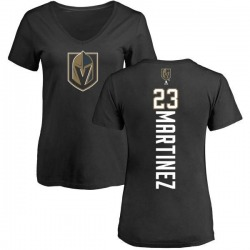 Women's Alec Martinez Vegas Golden Knights Backer Slim Fit V-Neck T-Shirt - Black
