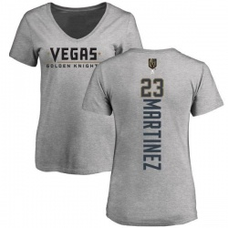Women's Alec Martinez Vegas Golden Knights Backer Slim Fit V-Neck T-Shirt - Heathered Gray