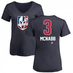 Women's Brayden McNabb Vegas Golden Knights Name and Number Banner Wave V-Neck T-Shirt - Navy
