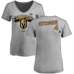 Women's Clayton Stoner Vegas Golden Knights 2018 Western Conference Champions Long Change V-Neck T-Shirt - Heather Gray