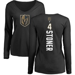Women's Clayton Stoner Vegas Golden Knights Backer Slim Fit Long Sleeve T-Shirt - Black