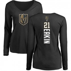 Women's Cody Eakin Vegas Golden Knights Backer Slim Fit Long Sleeve T-Shirt - Black