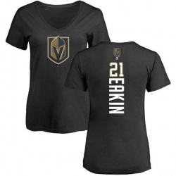 Women's Cody Eakin Vegas Golden Knights Backer Slim Fit V-Neck T-Shirt - Black