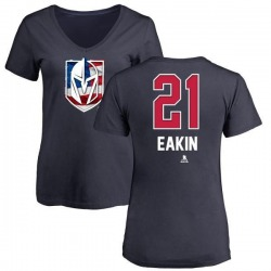 Women's Cody Eakin Vegas Golden Knights Name and Number Banner Wave V-Neck T-Shirt - Navy