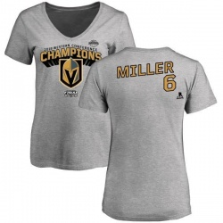 Women's Colin Miller Vegas Golden Knights 2018 Western Conference Champions Long Change V-Neck T-Shirt - Heather Gray