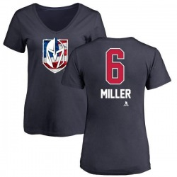Women's Colin Miller Vegas Golden Knights Name and Number Banner Wave V-Neck T-Shirt - Navy