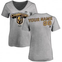 Women's Custom Vegas Golden Knights 2018 Western Conference Champions Custom Long Change V-Neck T-Shirt - Heather Gray