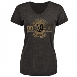 Women's Custom Vegas Golden Knights Custom Insignia Tri-Blend V-Neck T-Shirt - Black