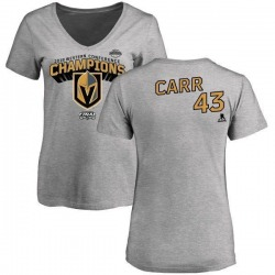 Women's Daniel Carr Vegas Golden Knights 2018 Western Conference Champions Long Change V-Neck T-Shirt - Heather Gray