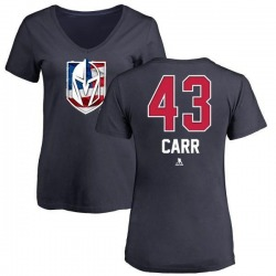 Women's Daniel Carr Vegas Golden Knights Name and Number Banner Wave V-Neck T-Shirt - Navy