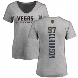 Women's David Clarkson Vegas Golden Knights Backer Slim Fit V-Neck T-Shirt - Heathered Gray