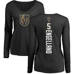 Women's Deryk Engelland Vegas Golden Knights Backer Slim Fit Long Sleeve T-Shirt - Black