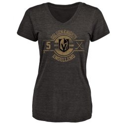 Women's Deryk Engelland Vegas Golden Knights Insignia Tri-Blend V-Neck T-Shirt - Black