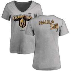Women's Erik Haula Vegas Golden Knights 2018 Western Conference Champions Long Change V-Neck T-Shirt - Heather Gray