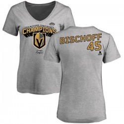 Women's Jake Bischoff Vegas Golden Knights 2018 Western Conference Champions Long Change V-Neck T-Shirt - Heather Gray