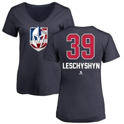 Women's Jake Leschyshyn Vegas Golden Knights Name and Number Banner Wave V-Neck T-Shirt - Navy