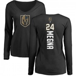 Women's Jaycob Megna Vegas Golden Knights Backer Slim Fit Long Sleeve T-Shirt - Black