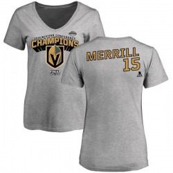 Women's Jon Merrill Vegas Golden Knights 2018 Western Conference Champions Long Change V-Neck T-Shirt - Heather Gray