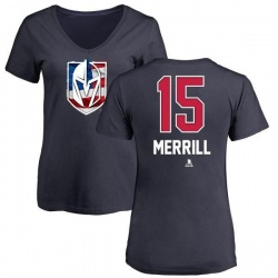 Women's Jon Merrill Vegas Golden Knights Name and Number Banner Wave V-Neck T-Shirt - Navy