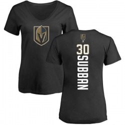 Women's Malcolm Subban Vegas Golden Knights Backer Slim Fit V-Neck T-Shirt - Black