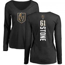 Women's Mark Stone Vegas Golden Knights Backer Slim Fit Long Sleeve T-Shirt - Black