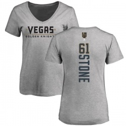 Women's Mark Stone Vegas Golden Knights Backer Slim Fit V-Neck T-Shirt - Heathered Gray