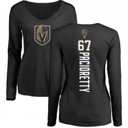 Women's Max Pacioretty Vegas Golden Knights Backer Slim Fit Long Sleeve T-Shirt - Black