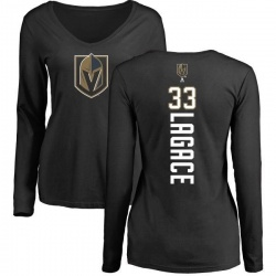 Women's Maxime Lagace Vegas Golden Knights Backer Slim Fit Long Sleeve T-Shirt - Black