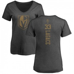 Women's Maxime Lagace Vegas Golden Knights Charcoal One Color Backer T-Shirt