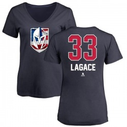 Women's Maxime Lagace Vegas Golden Knights Name and Number Banner Wave V-Neck T-Shirt - Navy